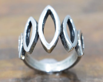 Ring Sterling Silver Hill Tribe Crown Ring