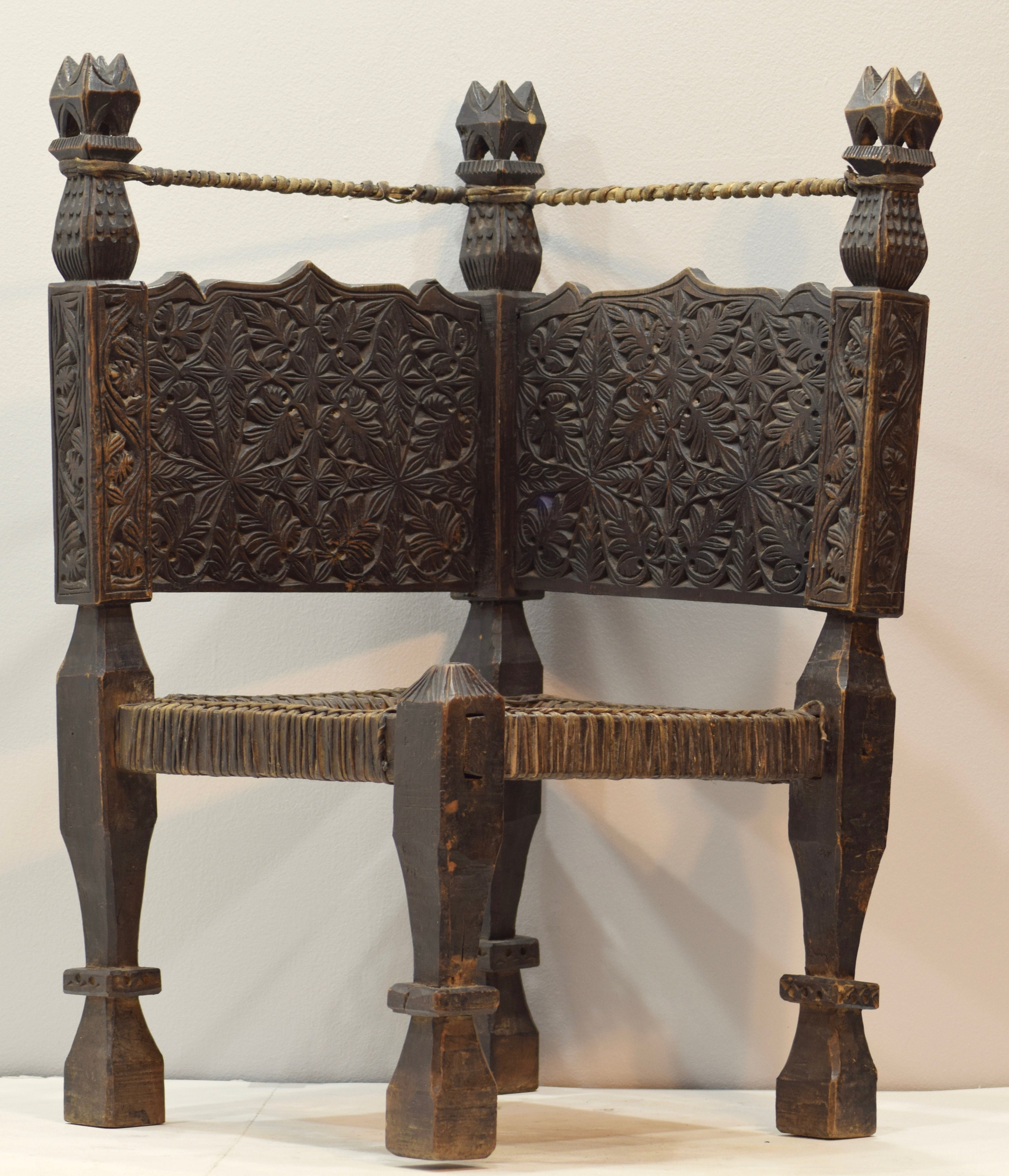 Bon Chair Middle Eastern Swat Valley Double Sided Wood Carved Handmade Floor  Chair