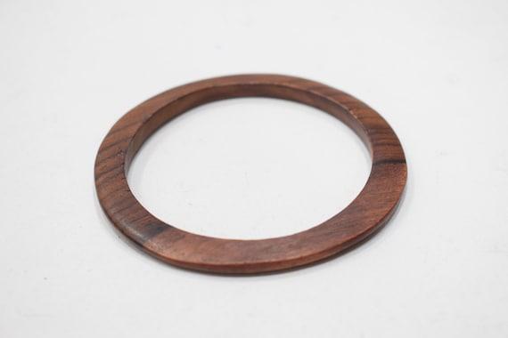 Bracelet Indonesian Thin Flat Wood Round Bangle