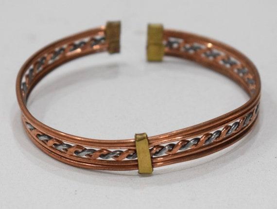 Bracelet Copper Brass Silver Woven Cuff Healing Bracelet