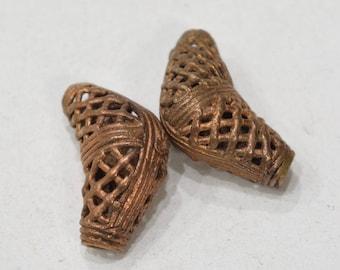Beads African Brass Elbow Beads Ghana 33mm-38mm