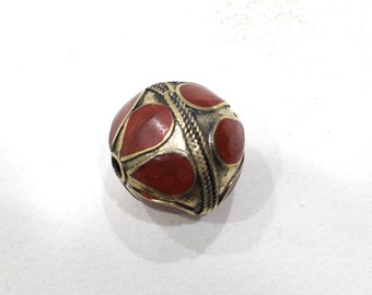 Beads Middle Eastern Red Stone Round  Brass Round Beads 27mm