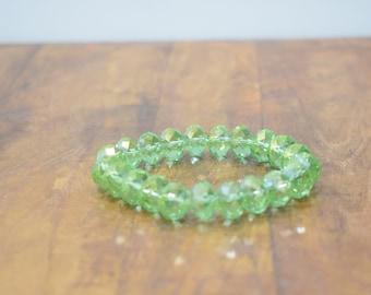 BraceletLight Green Faceted Crystal Stretch Bracelet