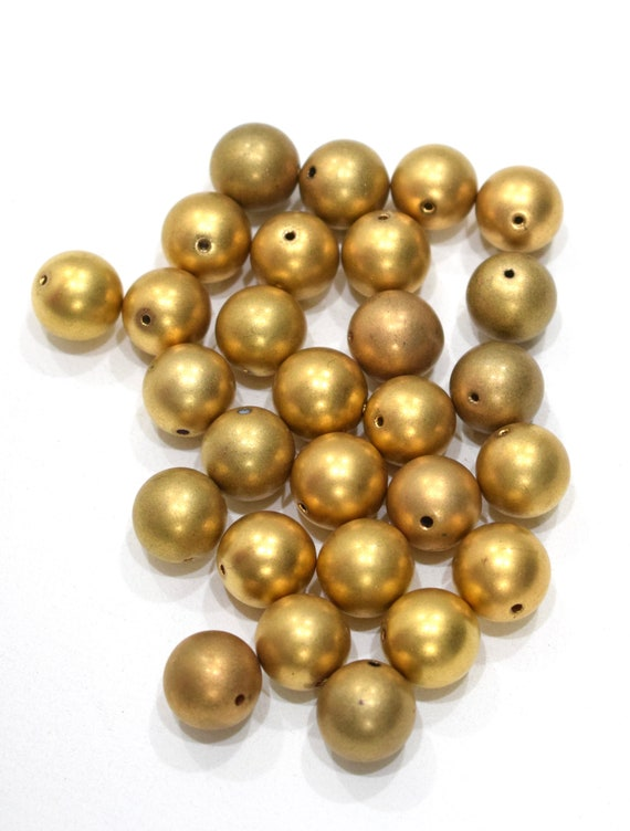 Beads Matte Gold Round Beads 14mm