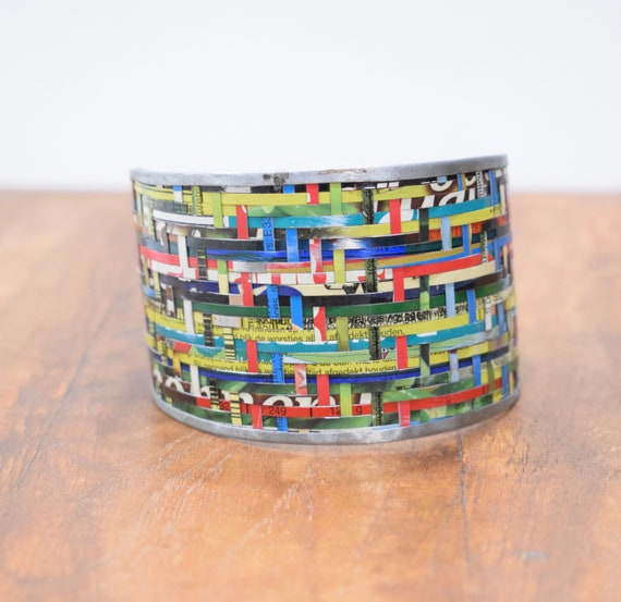 Bracelet Recycled Woven Tin Strip Wide Cuff Bracelet