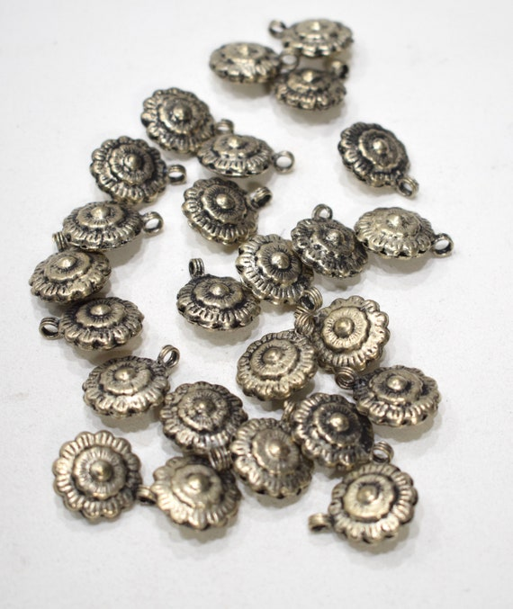 Beads Afghanistan Silver Flower Beads 18mm