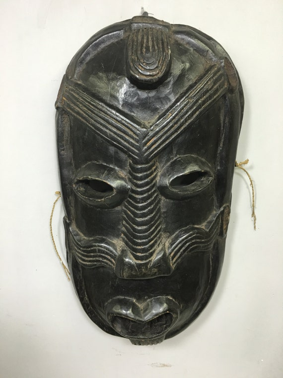 Papua New Guinea Mask Ramu River Secret Cult Black Wood Men Mask 19""