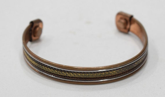 Bracelet Copper Silver Brass Woven Magnetic Cuff Healing Bracelet