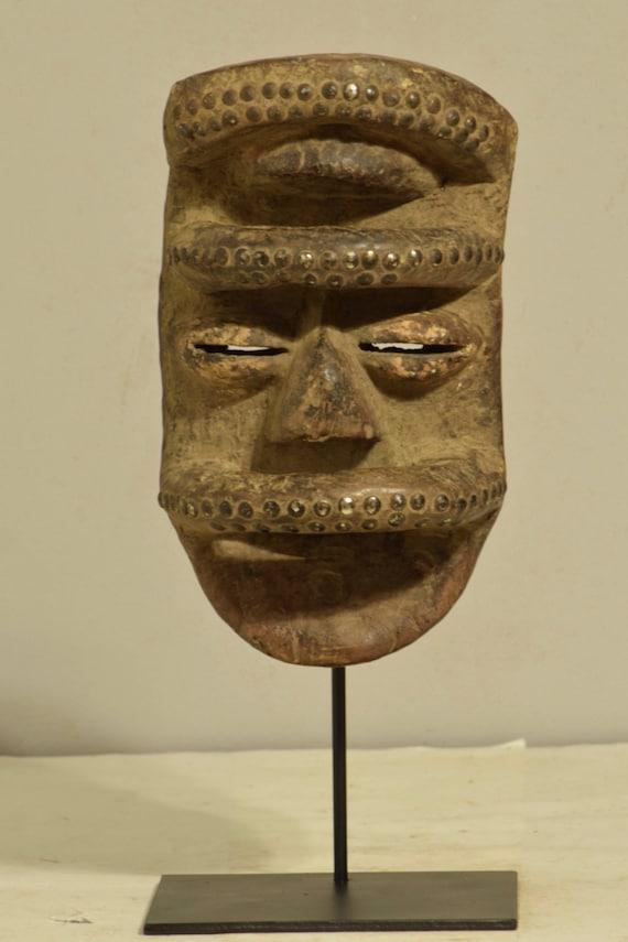African Bete Mask Wood Brass Cote d'Ivorie Magic Handmade Dancing Warrior Powerful Bete Mask