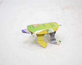 African Folk Art Toy Turtle Recycled Tin Can Turtle Tanzania Vintage Toy Turtle