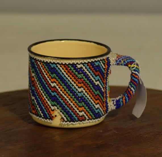 African Vintage Enamel Turquoise Orange Beaded Mug Handmade Zulu Mug Coffee Tea  Drinking Beaded Cup