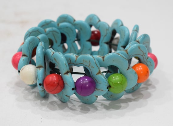 Bracelets Turquoise Stablized Stone Colorul Flower Elastic Stretch Bracelet