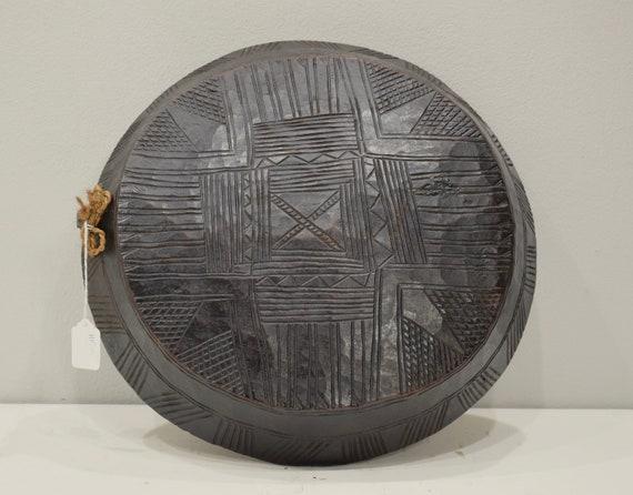 African Ethiopian Gurage Tribe Meat Bowl Carved Back Wood Bowl Gurage Tribe