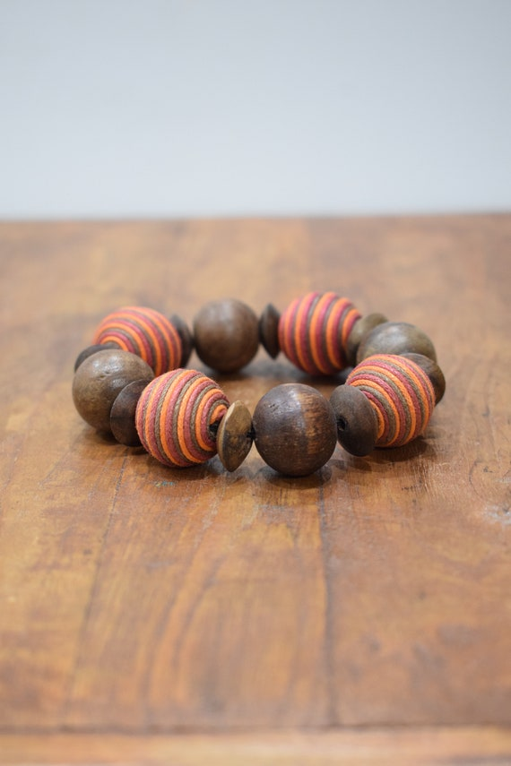 Bracelet Wood Round Orange Textured Beaded Stretch Bracelet