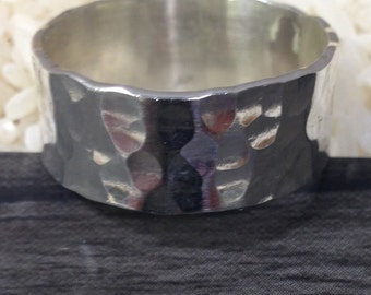 Ring Sterling Silver Hammered Band Ring
