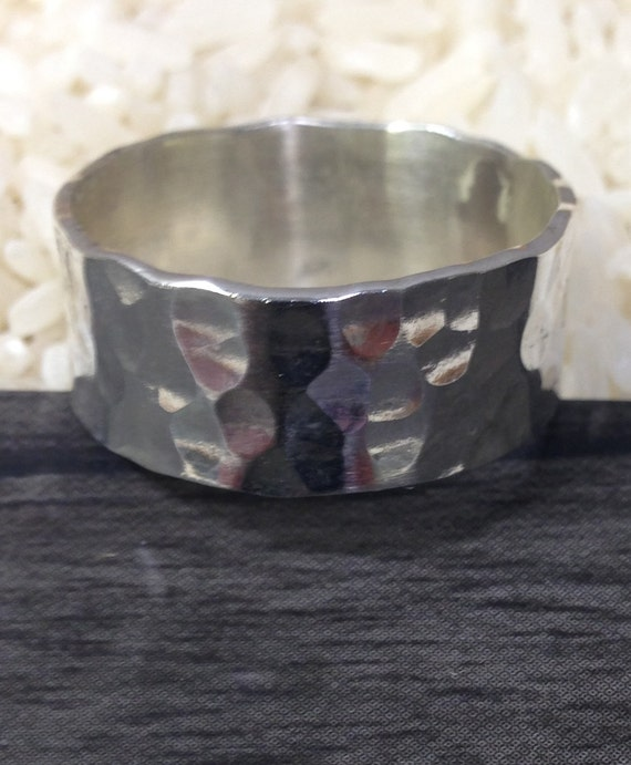 Sterling Silver Hammered Band Ring Handmade Handcrafted Gift for Her Gift for Him Gift for a Girl Wedding Band