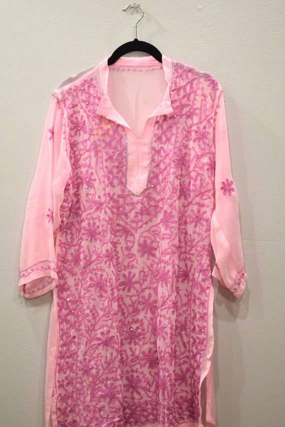 Tunic India Pink Crepe Tunic and Scarf