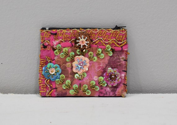 Coin Purse Pink Assorted Sequined Flower Purse