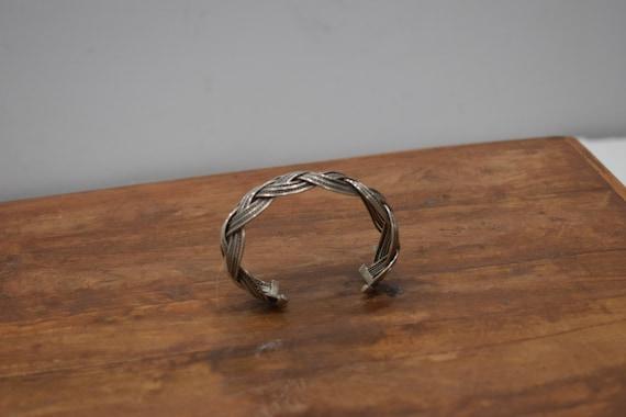 Bracelet Silver Open Weave Cuff Miao Hill Tribe
