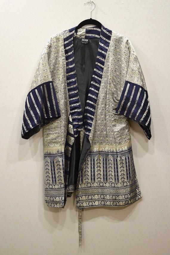 Jacket Silk Navy Blue Brocade Jacket