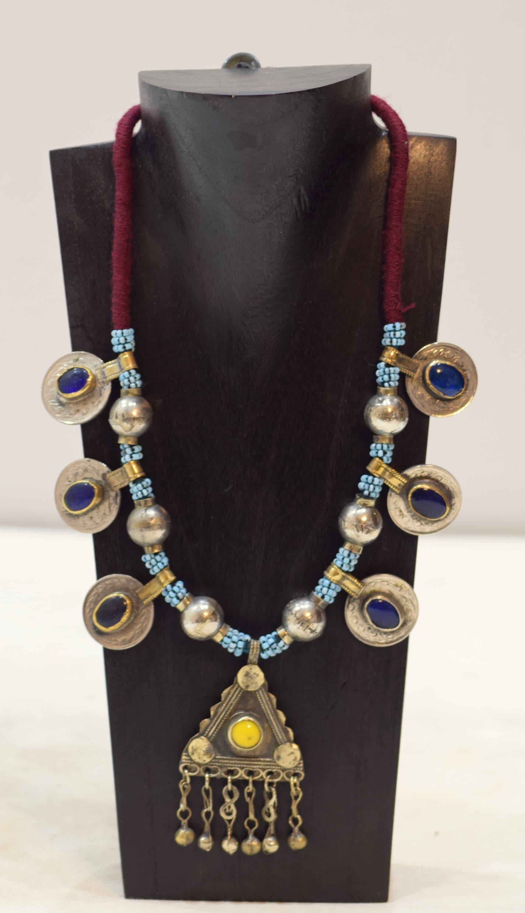 Necklace middle east blue beaded silver pendant kuchi necklace 28 aloadofball Gallery