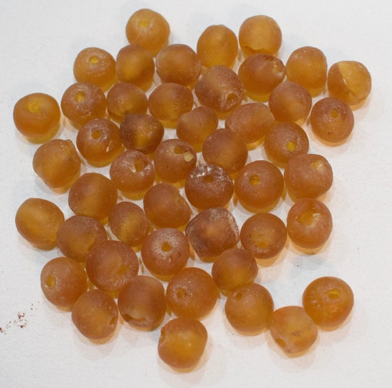 Beads African Recycled Brown Glass Round Beads 12mm- 15mm