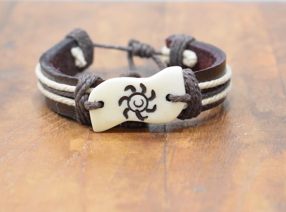 Bracelet Brown Leather Beige Hemp Etched Bone Tie Bracelet
