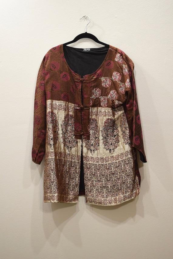 Jacket Silk Brown Red Brocade Jacket