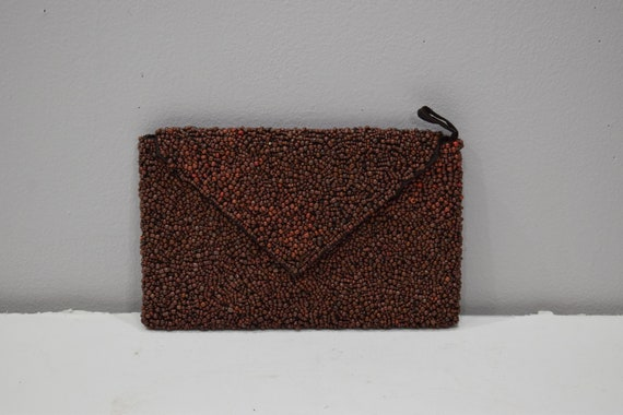 Purse Beaded Brown Clutch Envelope Bag