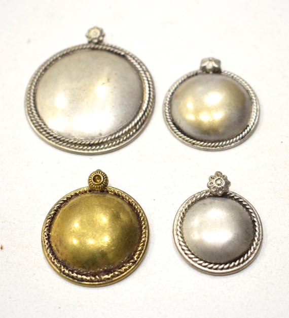 Beads India Brass Silver Assorted Pendants 30-48mm