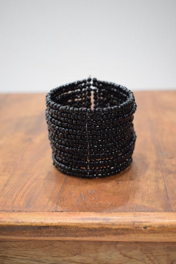 Bracelet Beaded Black Wide Wire Cuff Bracelet