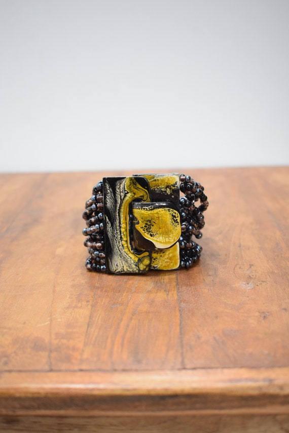 Bracelet Black Beaded Hand Painted Buckle Clasp Bracelet