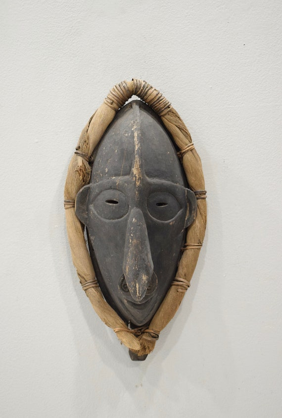 Papua New Guinea Mask Black Wood Lower Sepik River Ancestor Mask