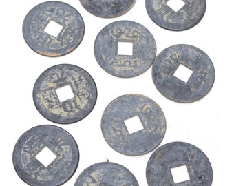 Beads Chinese I Ching Silver Good Luck Coins 24mm