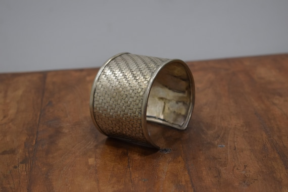 Bracelet Silver Woven Wide Cuff Miao Hill Tribe
