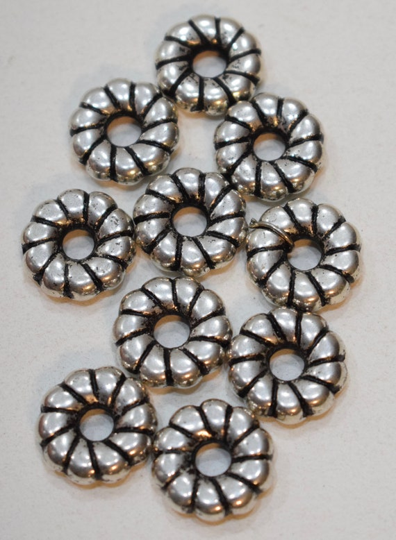 Beads Silver Round Fluted Rondelle Beads 18mm