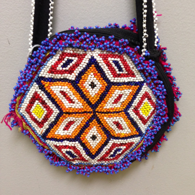 d105b2f2cb Purse Middle Eastern Double-Side Beading Kuchi Handmade Art ...
