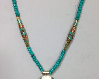 Necklace Shell  Emblem Pendant Turquoise Glass Brass Turquoise Coral Bead Handmade Jewelry Necklace Shell Turquoise Coral Brass Unique