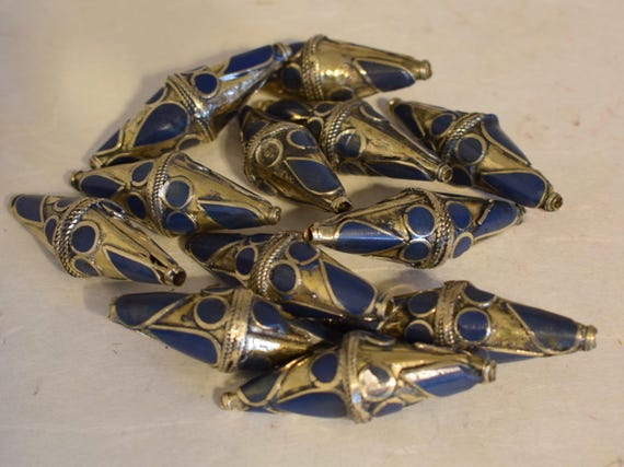 Beads Middle Eastern Blue Lapis Brass Bicone Beads Handmade Handcrafted 4 Lot Lapis Beads Brass Crafts Jewelry Beads