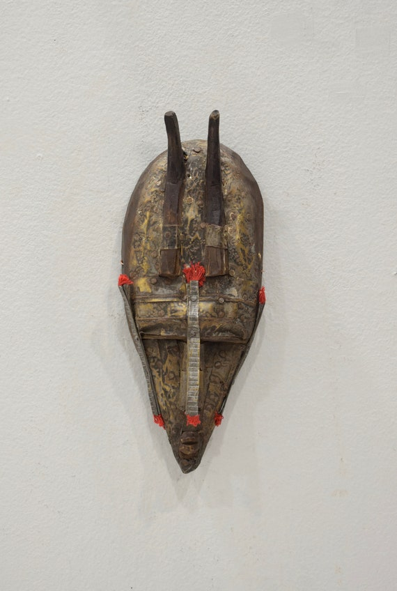African Mask Marka Brass Wood Passport Mask Burkina Faso Mali