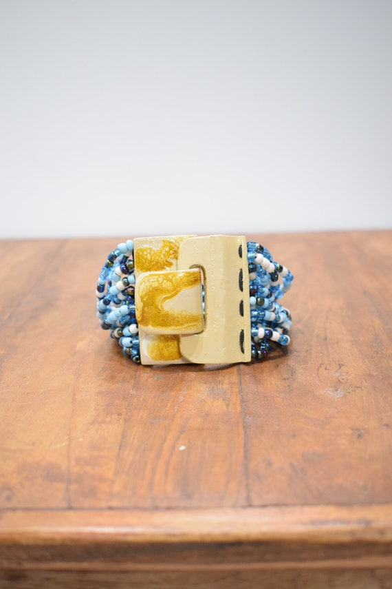 Bracelet Blue Beaded Hand Painted Buckle Clasp Bracelet