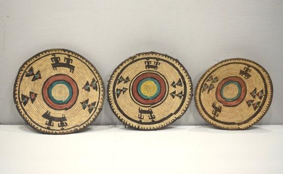 African Basket Hausa Nigeria Woven Handmade Coiled Bowl Plate Basket