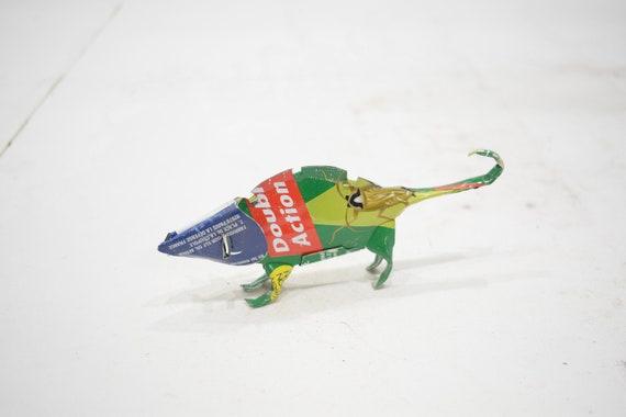 African Folk Art Toy Chameleon Recycled Tin Can Chameleon Tanzania Toy Chameleon