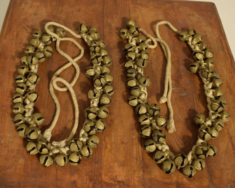 India Brass Pair Anklets Bells Vintage Belly Dancing Brass Bells Classical Dance Anklets