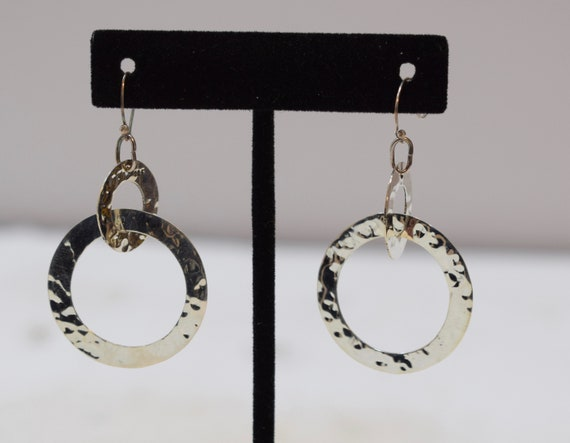 Earrings Sterling Silver Textured Hoop Dangle Earrings 55mm