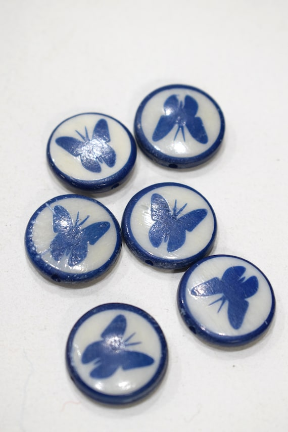 Beads Indonesian Bone Butterfly Round Beads 20mm