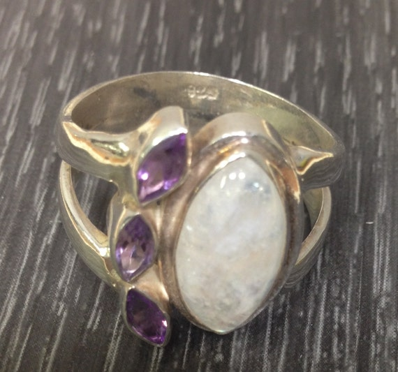 Ring Sterling Silver Moonstone Amethyst Ring