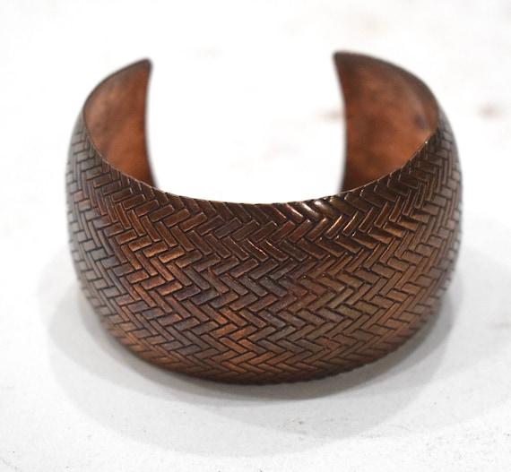 Bracelet Vintage Copper Wide Textured Cuff Healing Bracelet