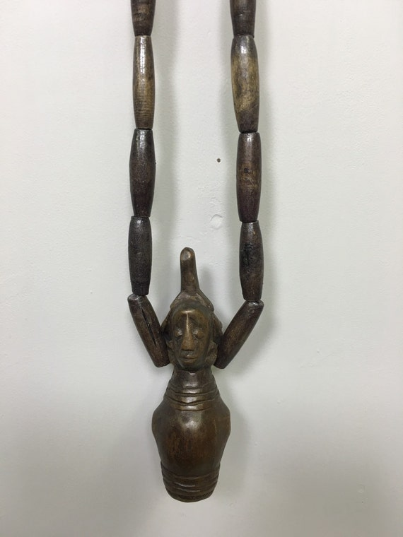 African Necklace Figure Pendant Luba Handmade Hand Carved Wood Beads Figure Jewelry Making Necklace Gift for Her Gift for Him Home Decor
