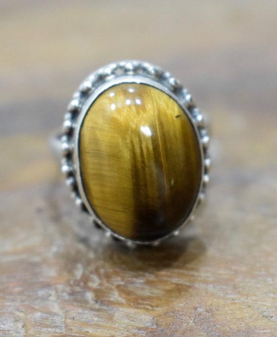 Ring Sterling Silver Tiger Eye Stone Silver Ring
